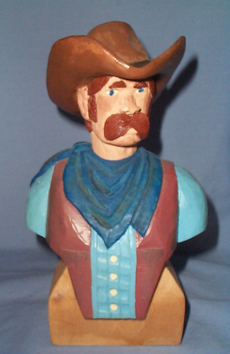 Cowboy Bust woodcarving by Fred Pflederer