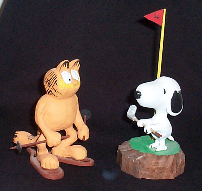 Garfield and Snoopy woodcarving
